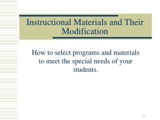 Instructional Materials and Their Modification