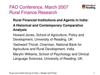 FAO Conference, March 2007 Rural Finance Research