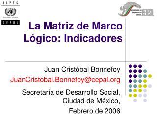 La Matriz de Marco L gico: Indicadores