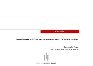 Methods for comparing PPPs and other procurement approaches   The Moroccan experience