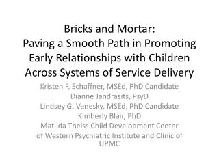 Bricks and Mortar:  Paving a Smooth Path in Promoting Early Relationships with Children Across Systems of Service Delive