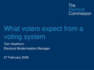 What voters expect from a voting system
