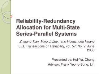 Reliability-Redundancy Allocation for Multi-State Series-Parallel Systems