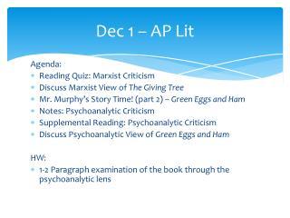 Dec 1   AP Lit