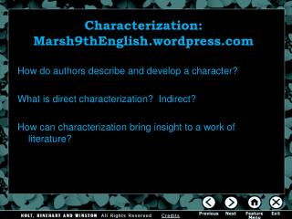 Characterization: Marsh9thEnglish.wordpress