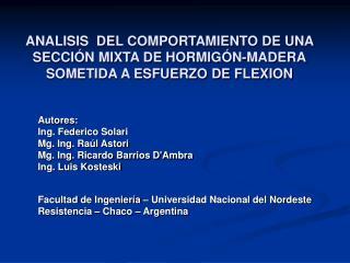 ANALISIS  DEL COMPORTAMIENTO DE UNA SECCI N MIXTA DE HORMIG N-MADERA SOMETIDA A ESFUERZO DE FLEXION