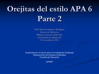 Orejitas del estilo APA 6 Parte 2