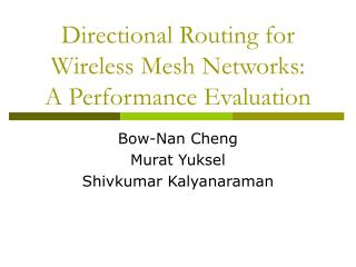 Directional Routing for Wireless Mesh Networks: A Performance Evaluation