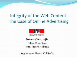 Integrity of the Web Content:  The Case of Online Advertising