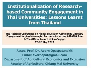 Institutionalization of Research-based Community Engagement in Thai Universities: Lessons Learnt from Thailand