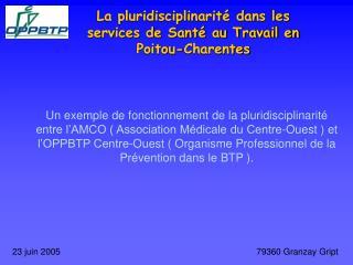 La pluridisciplinarit  dans les services de Sant  au Travail en Poitou-Charentes
