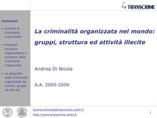 La criminalit  organizzata nel mondo: gruppi, struttura ed attivit  illecite    Andrea Di Nicola   A.A. 2005-2006