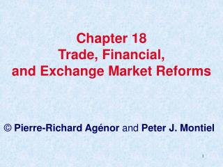 Chapter 18 Trade, Financial,  and Exchange Market Reforms