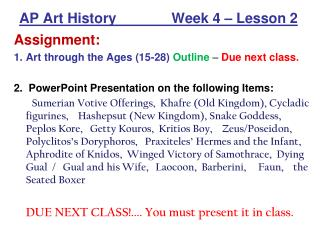AP Art History              Week 4   Lesson 2