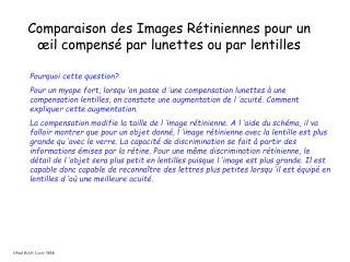 Comparaison des Images R tiniennes pour un  il compens  par lunettes ou par lentilles