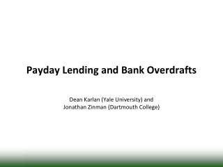 Payday Lending and Bank Overdrafts
