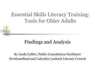 Essential Skills Literacy Training: Tools for Older Adults