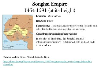 Songhai Empire 1464-1591 at its height