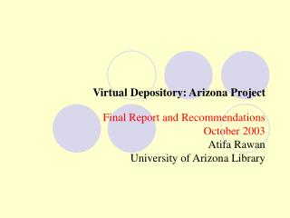 Virtual Depository: Arizona Project