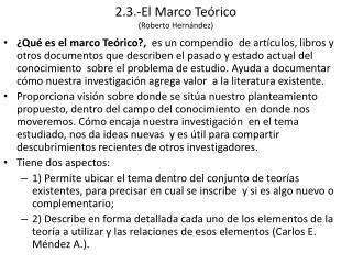 2.3.-El Marco Te rico Roberto Hern ndez