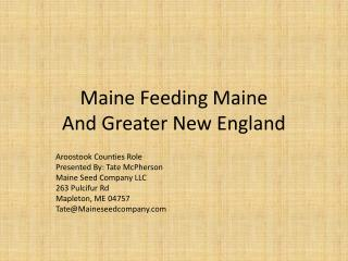 Maine Feeding Maine And Greater New England