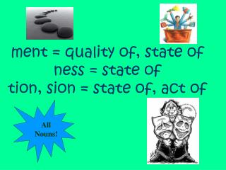 Ment  quality of, state of ness  state of tion, sion  state of, act of