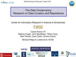 Center for Informatics Research in Science  Scholarship     Carole Palmer, PI Melissa Cragin, John MacMullen, Tiffany Ch