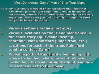 Most Dangerous Game  Map of Ship-Trap Island