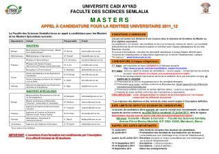 UNIVERSITE CADI AYYAD FACULTE DES SCIENCES SEMLALIA