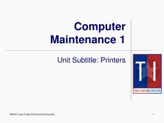 Computer Maintenance 1