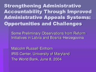 Strengthening Administrative Accountability Through Improved Administrative Appeals Systems: Opportunities and Challenge
