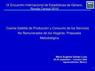IX Encuentro Internacional de Estad sticas de G nero. Ronda Censal 2010