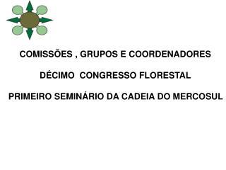 COMISS ES , GRUPOS E COORDENADORES   D CIMO  CONGRESSO FLORESTAL   PRIMEIRO SEMIN RIO DA CADEIA DO MERCOSUL