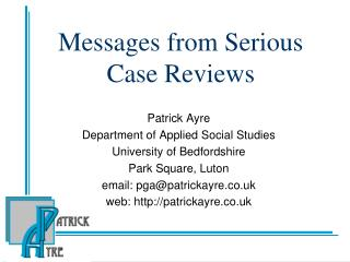 Messages from Serious Case Reviews