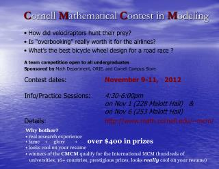Cornell Mathematical Contest in Modeling