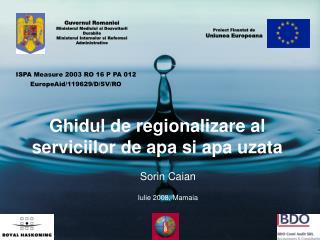 Ghidul de regionalizare al serviciilor de apa si apa uzata