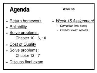 Return homework Reliability Solve problems: Chapter 10 - 6, 10 Cost of Quality Solve problems: Chapter 12 - 7 Discuss fi