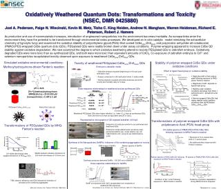 Oxidatively Weathered Quantum Dots: Transformations and Toxicity  NSEC, DMR 0425880  Joel A. Pedersen, Paige N. Wiecinsk