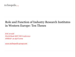 Role and Function of Industry Research Institutes in Western Europe: Ten Theses