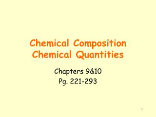 Chemical Composition Chemical Quantities