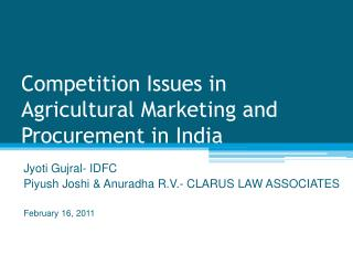 Competition Issues in Agricultural Marketing and Procurement in India