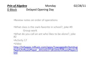 Prin of Algebra  Monday  02