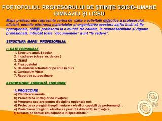 PORTOFOLIUL PROFESORULUI DE STIINTE SOCIO-UMANE GIMNAZIU SI LICEU