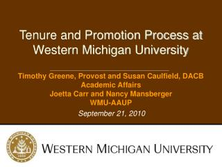 Tenure and Promotion Process at Western Michigan University