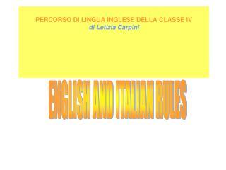 PERCORSO DI LINGUA INGLESE DELLA CLASSE IV di Letizia Carpini