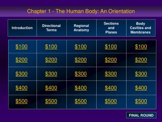 Chapter 1 - The Human Body: An Orientation