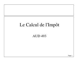 Le Calcul de lImp t