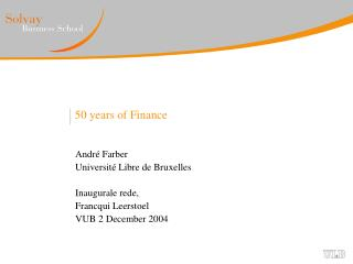 50 years of Finance