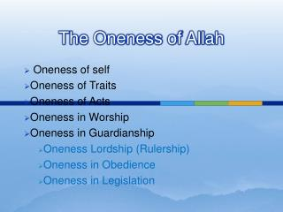 The Oneness of Allah