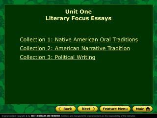 Unit One Literary Focus Essays
